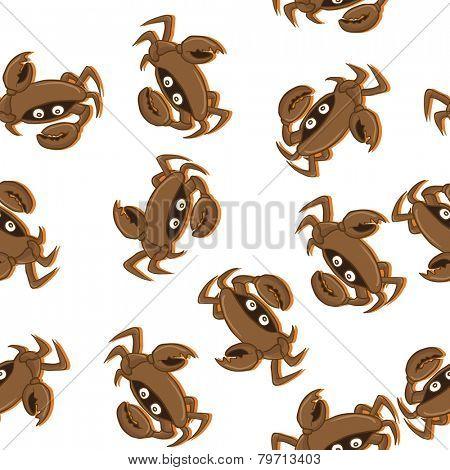 crab seamless pattern on white