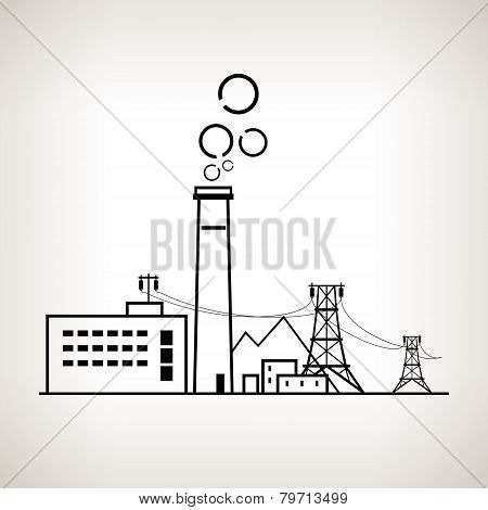 Silhouette coal power station, vector illustration