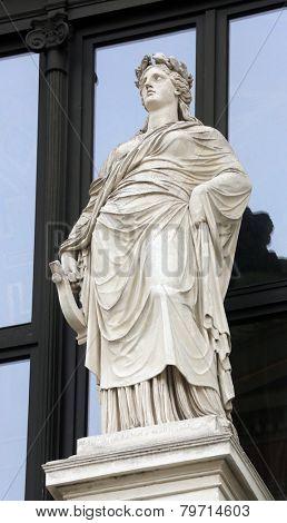 VIENNA, AUSTRIA - OCTOBER 10: Statue on facade of Musikverein Vienna in Vienna, Austria on October 10, 2014