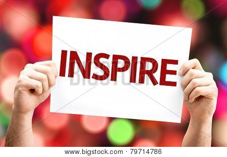 Inspire card with colorful background with defocused lights