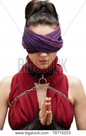 Blindfolded Girl Pray White Background