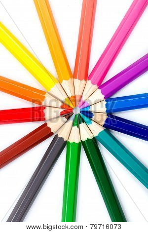 Colorful Pencils In Radial Arrangement