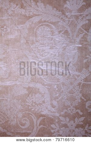 Vintage Beige Wallpaper With Shabby Textile Victorian Pattern