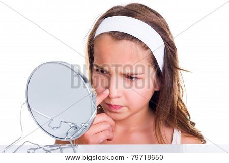 Girl Searching For Pimples