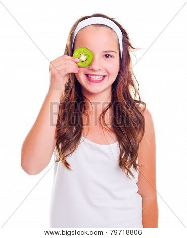 Girl With Kiwi Slice Over Her Eye