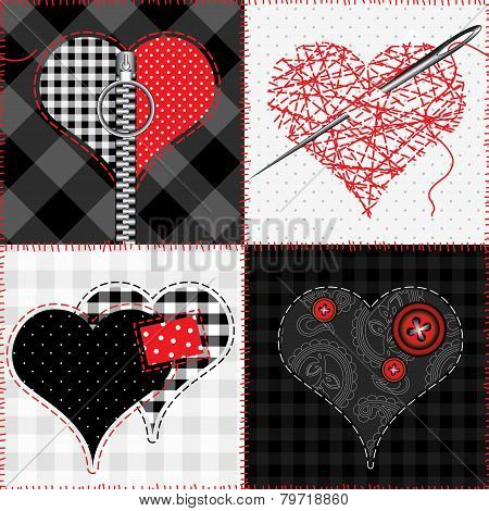 Quilt with hearts.