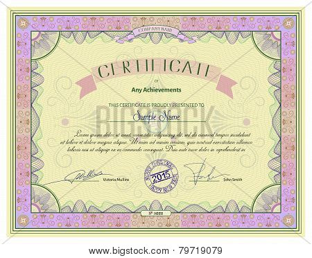 Vintage Certificate Template With Detailed Border And Calligraphic Elements On Yellow Paper vector