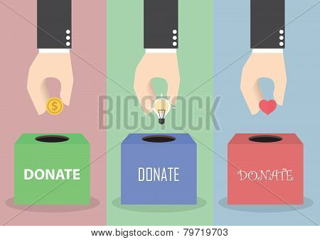 Businessman Hand Putting Coin, Light Bulb And Heart Into The Box, Donation Concept