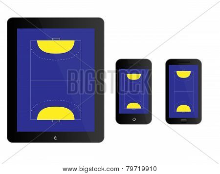 Mobile Devices With Handball Court Black