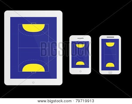 Mobile Devices With Handball Court White