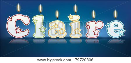 CLAIRE written with burning candles - vector illustration
