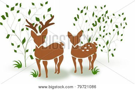 Deer Couple Between Trees