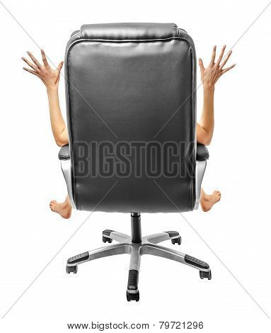 Outspread arms and legs sitting on a chair back.