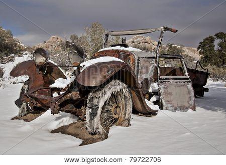 Abandoned Truck in Desert Snow