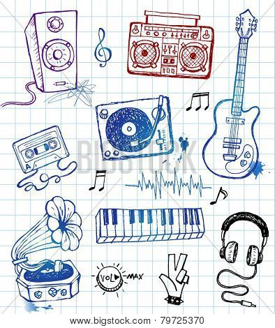 Hand-drawn musical icons in funky style.