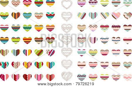 Big set with different stylized hearts