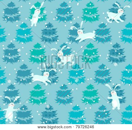 Seamless blue pattern with winter trees and rabbits