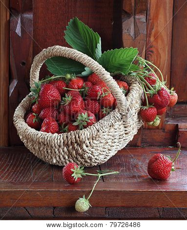 Fresh Ripe Strawberry In A Wattled Basket
