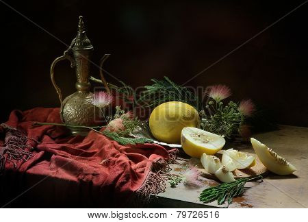 Melon And Bronze Jug On A Red Cloth