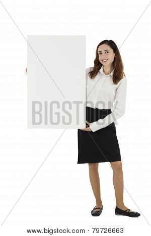 Business Woman Showing Blank Advertisement Board