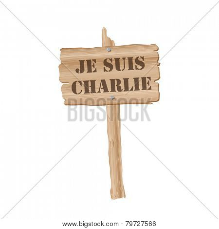 Placard with the slogan Je Suis Charlie, French for I am Charlie. Slogan has been taken to represent freedom of Speech following terrorist attack on journalists in Paris. EPS10 vector format