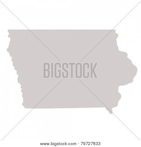 Iowa State map isolated on a white background, USA.