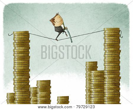 businessman on a tightrope