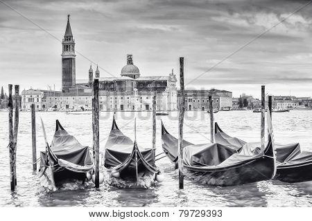 Gondolas In Front Of San Giorgio Maggiore Church B&w
