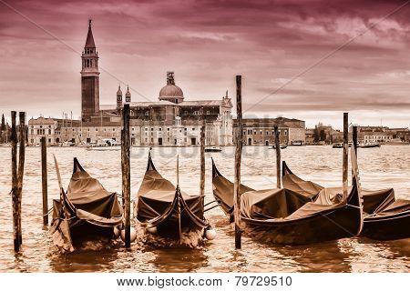 Gondolas In Front Of San Giorgio Maggiore Church