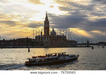 San Giorgio Maggiore In Venice At Sunset