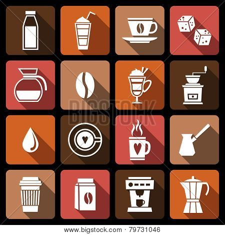 Coffee icons white