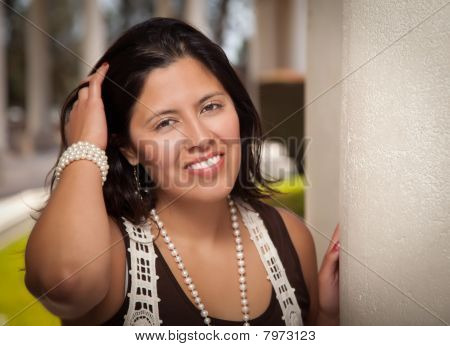 Attractive Hispanic Young Woman Outside