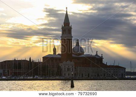Church Of San Giorgio Maggiore At Sunset