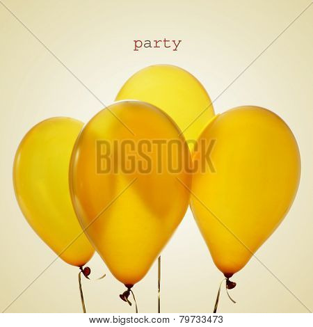 the word party and a bunch of inflated golden balloons tied in strings on a beige background, with a retro effect