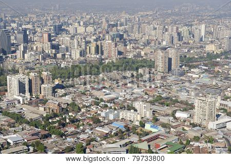 Aerial view of the Santiago city with smog, Santiago, Chile.