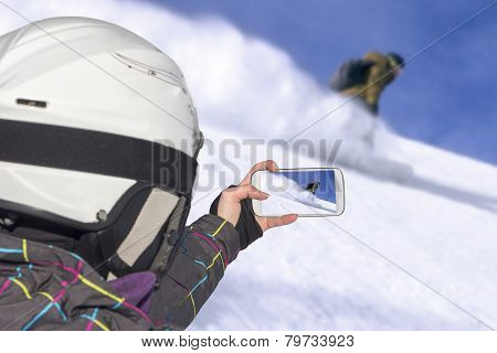 Photographed Snowboarder Freerider In The Mountains