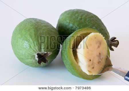 Delicious feijoa fruit ready to eat.