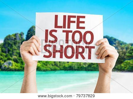 Life is Too Short card with a beach on background
