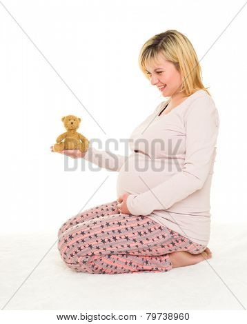 pregnant woman on white isolated