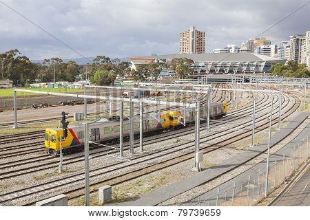 Train approaching a railway station