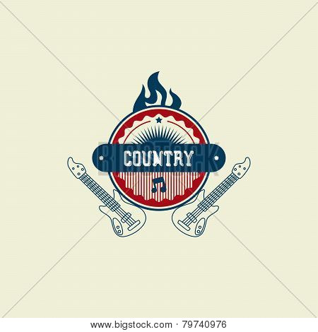country Music Label Sticker