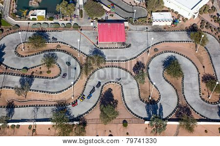 Scottsdale, AZ-December 29, 2014-Miniature race cars zoom around track