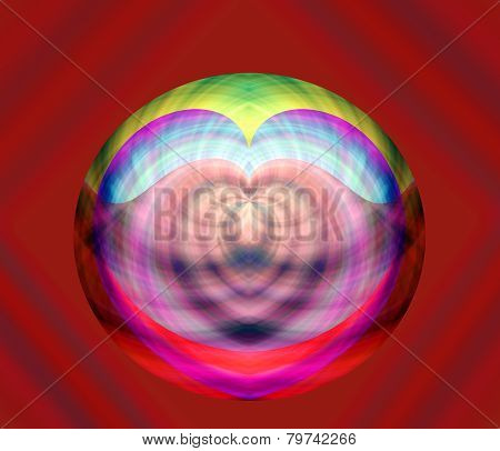 abstract heart design on red backgound
