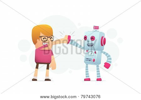 Man And The Robot Best Friends.
