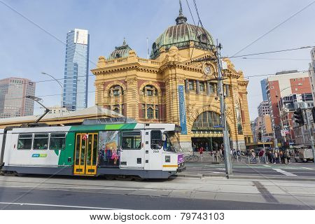 View of Finders Street Station in Melbourne, Australia