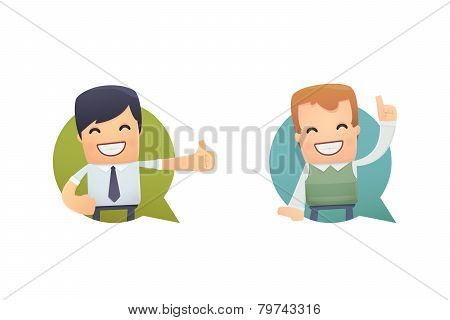 Banner With Businessman And Customer
