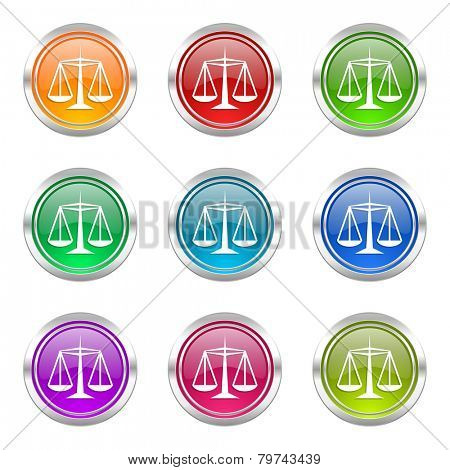 justice icons set law sign