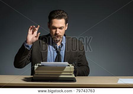 Author working at the typewriter