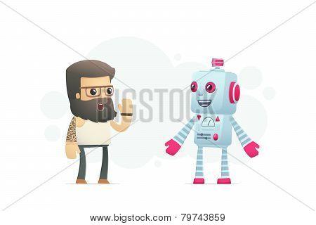 Artist Communicates With Robot