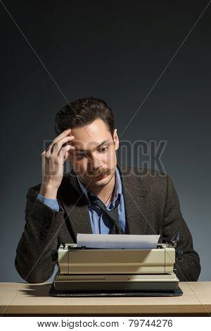 Author working at the typewriter